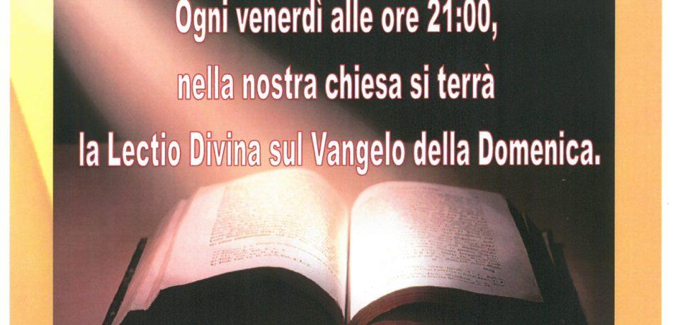 La Lectio Divina riprende ogni Venerdì alle ore 21:00.