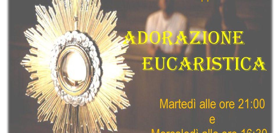 L'Adorazione Eucaristica riprenderà tutti i Martedì sera alle ore 21:00 e tutti i Mercoledì pomeriggio alle ore 16:30.