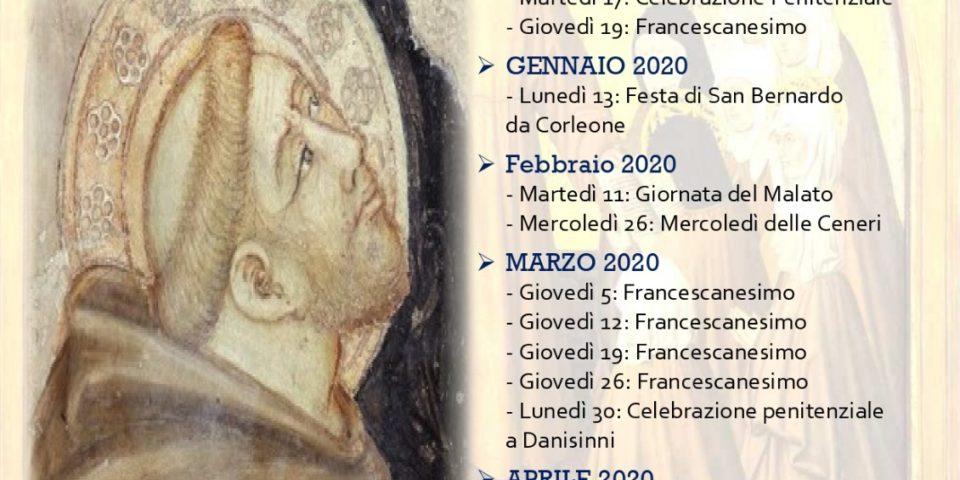 Calendario delle attività proposte dai Frati nella Parrocchia dei Cappuccini di Palermo alle ore 21:00