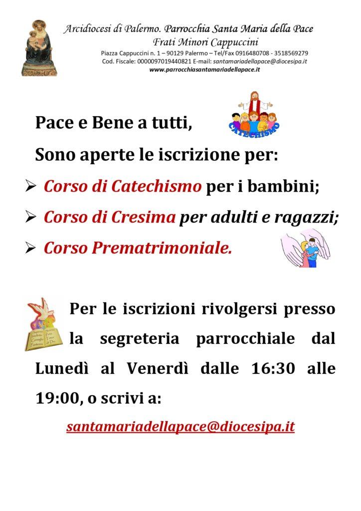 Iscrizione Corsi di Battesimo - Cresima - Prematrimoniale 2020 - Parrocchia Santa Maria della Pace Palermo